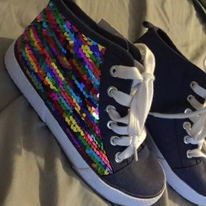 Cat & Jack Girls Rainbow Sequin High Top Sneakers